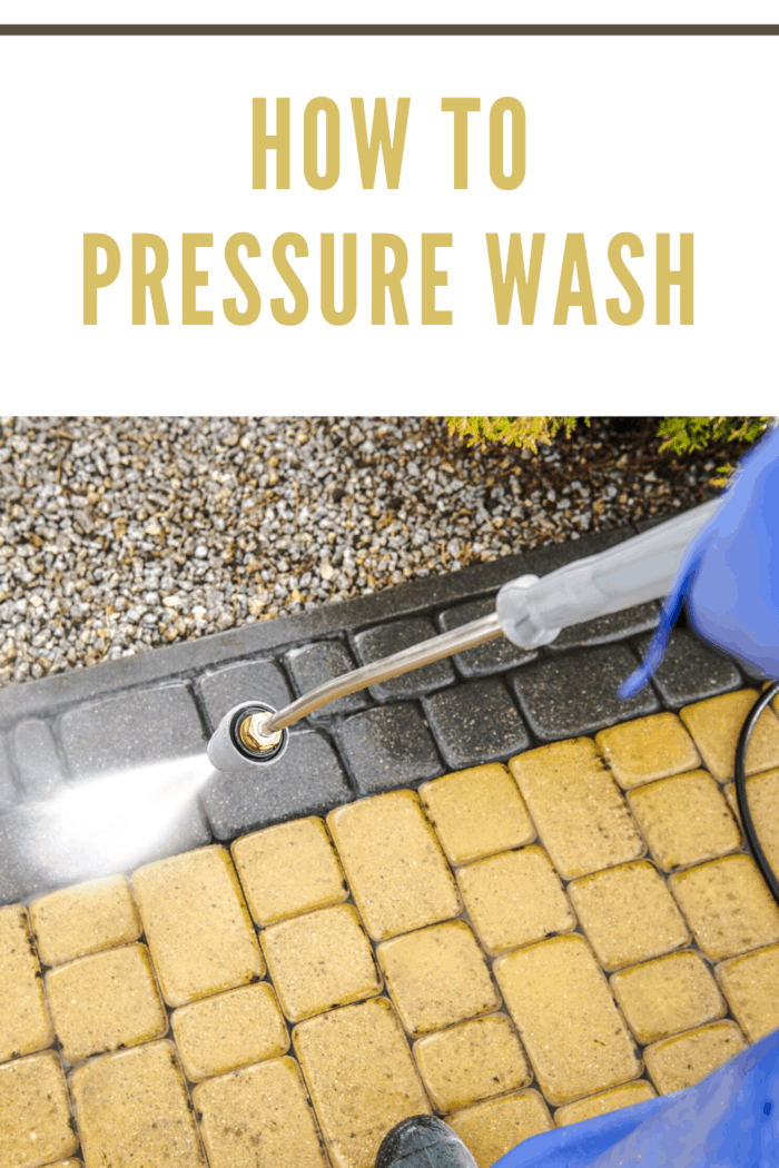 pressure washing a brick deck