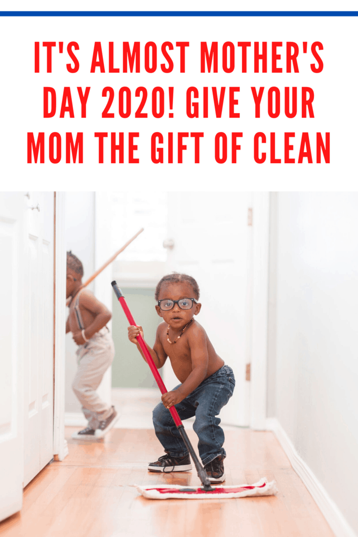 little boys cleaning floors to give mom the gift of clean