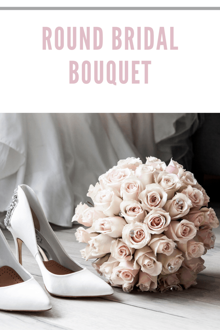 round rose bridal bouquet with wedding shoes