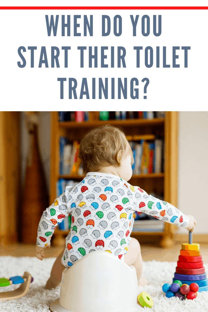small child on potty training toilet