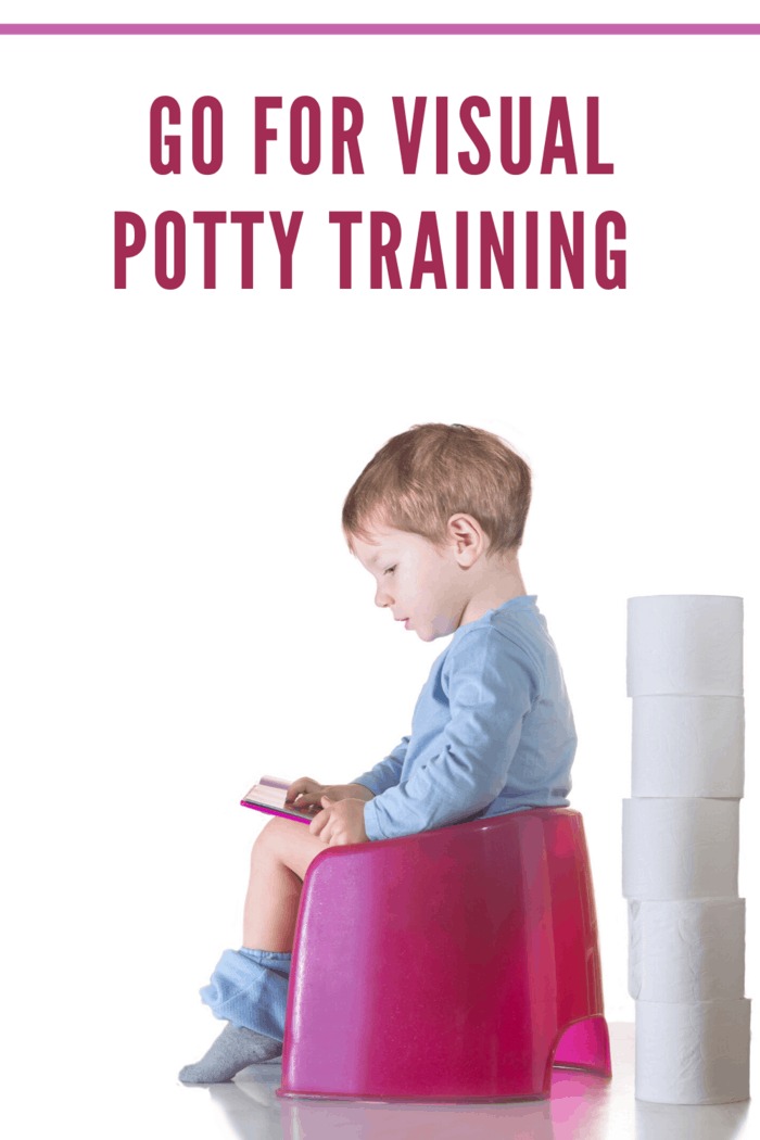 child looking at flashcards on potty training toilet