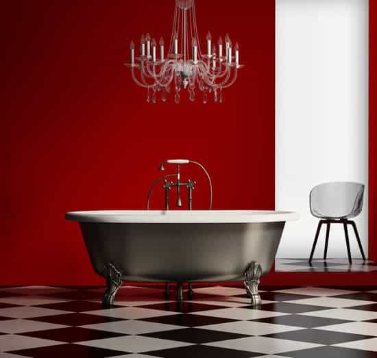 3d render of a red baroque classic bathtub