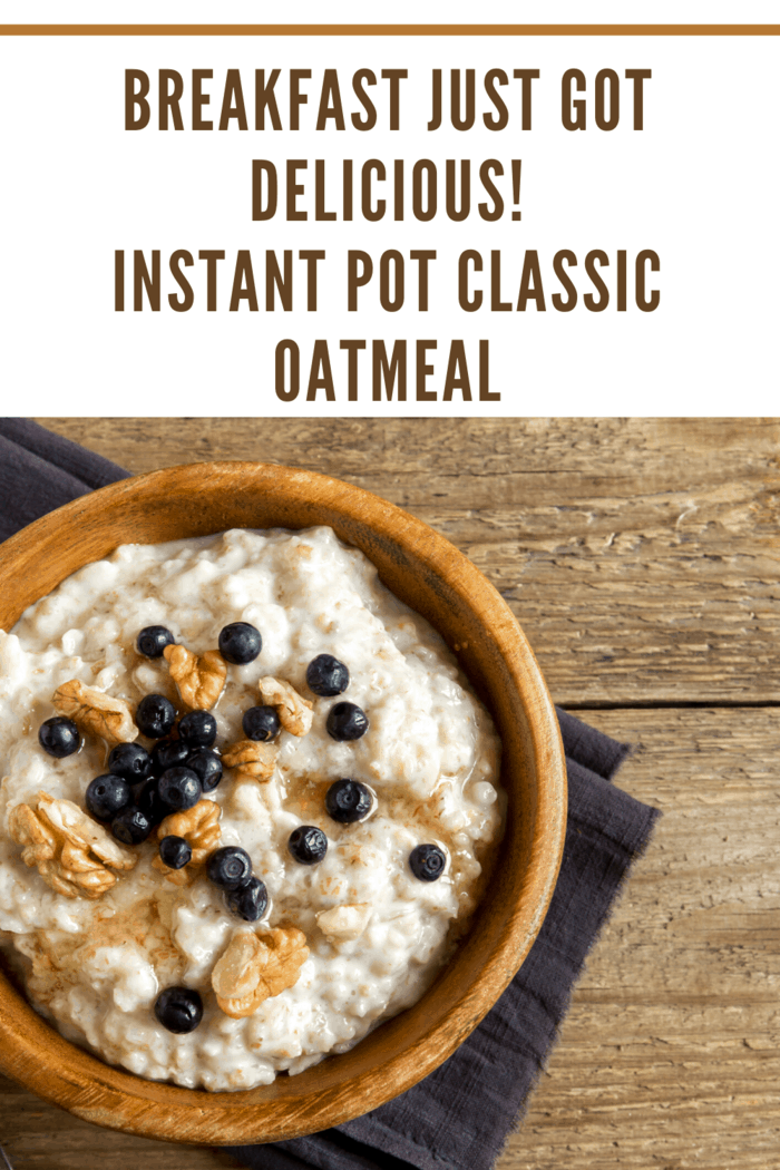 Classic Old-Fashioned Oatmeal in wooden bowl