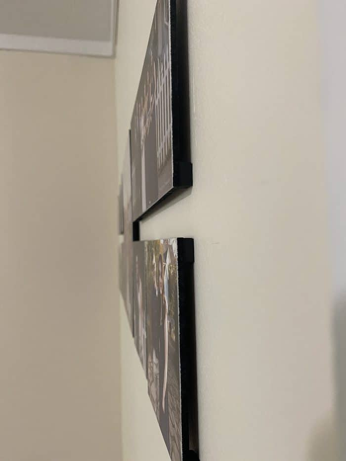 the foam corners lift the photos off the wall
