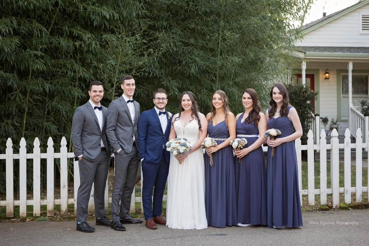 bridal party in stormy blue
