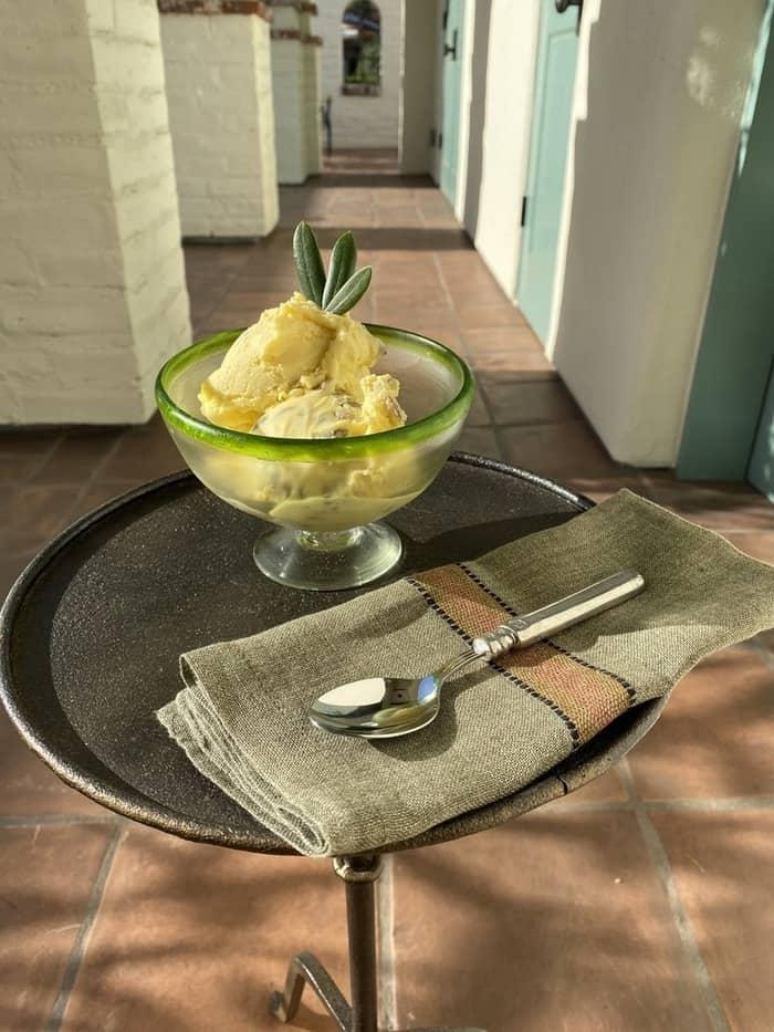 olive oil ice cream in bowl