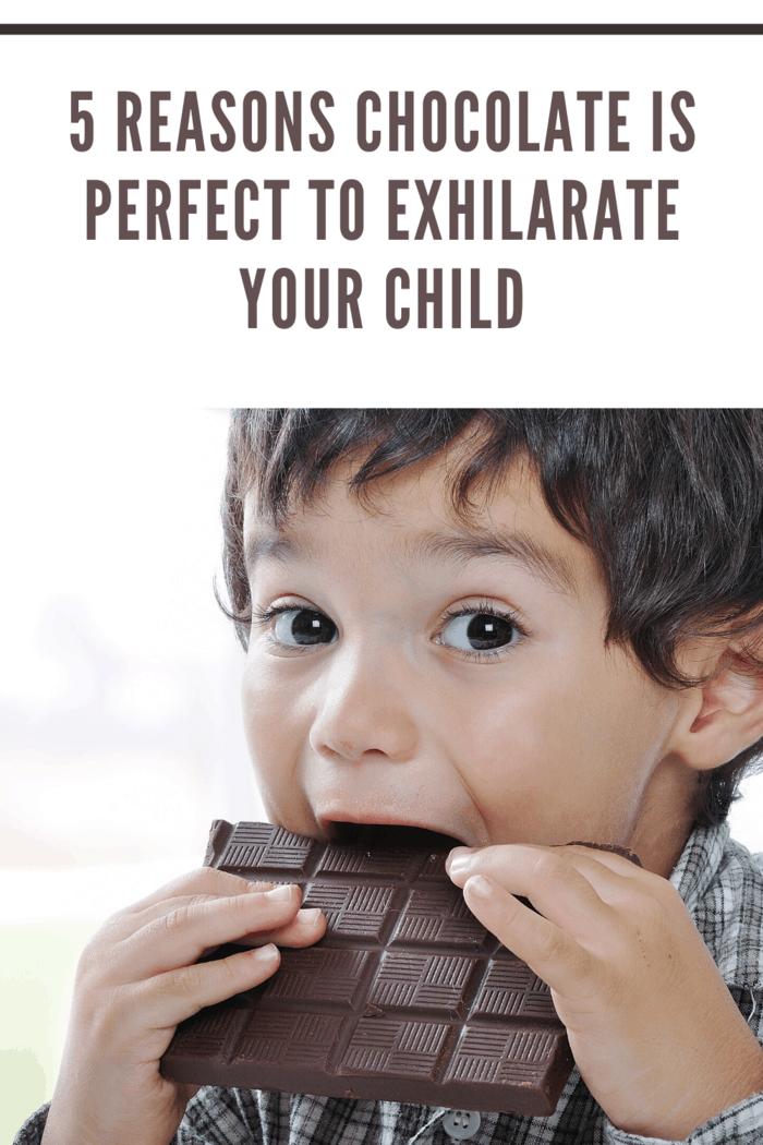 Little cute kid eating chocolate