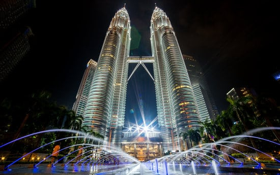 Petronas Tower in Malaysia at night all lit up