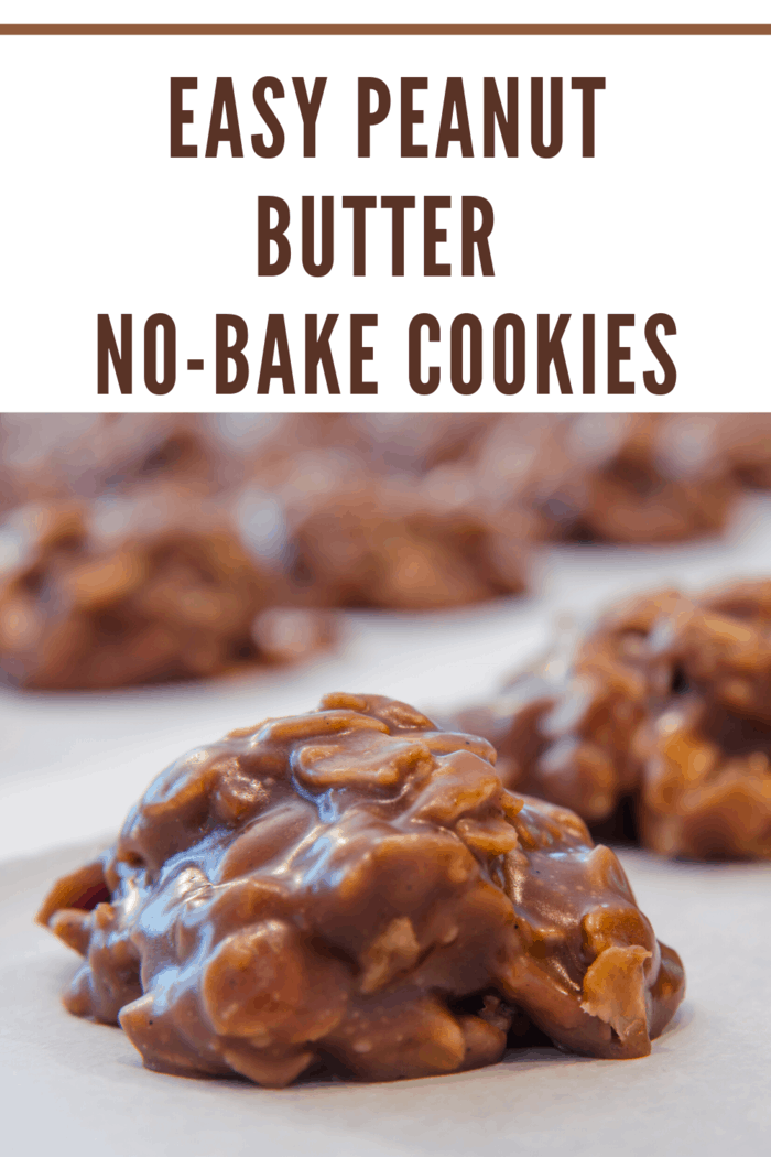 easy no bake peanut butter cookies cooling into shape