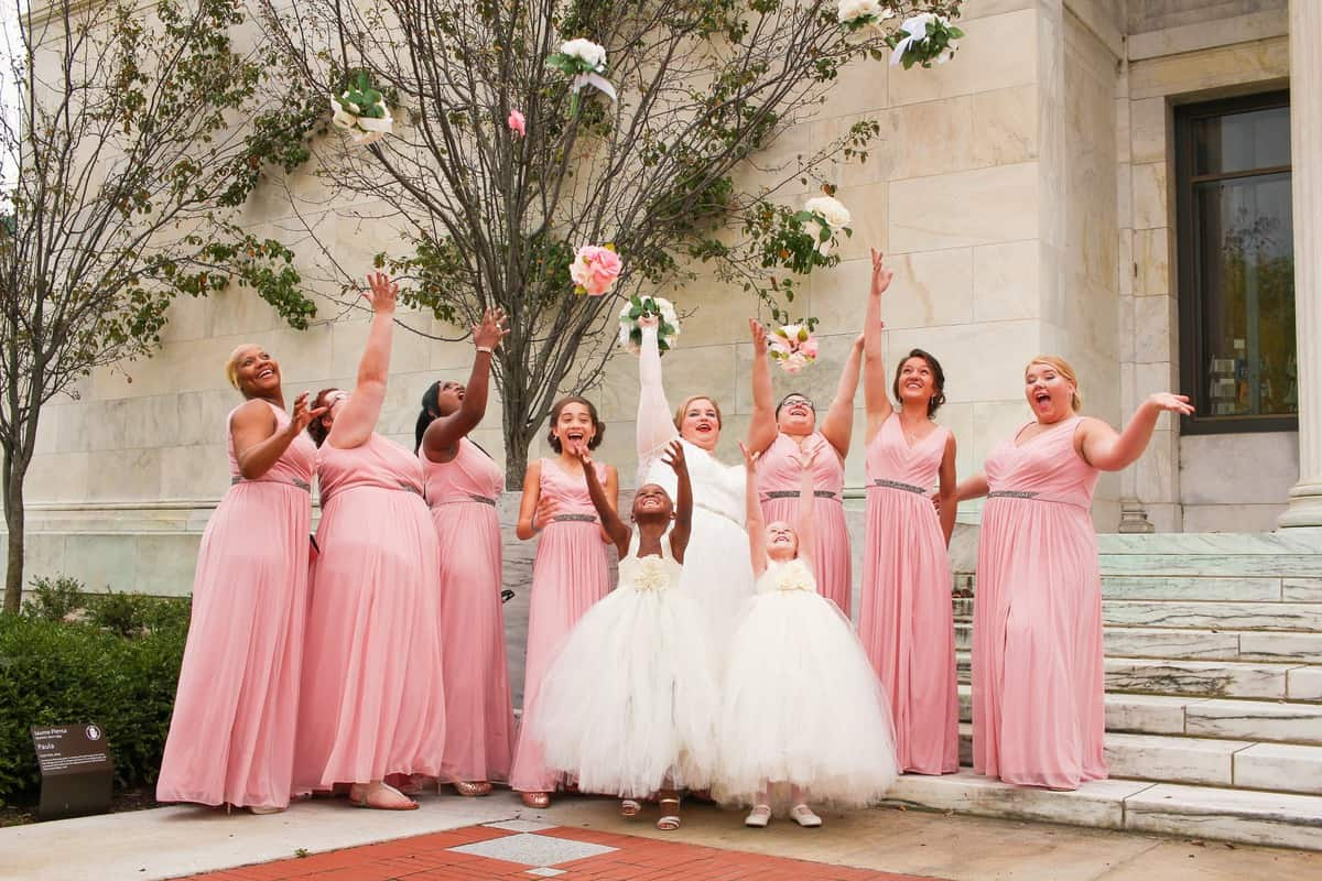 bridal part in blush pink dresses