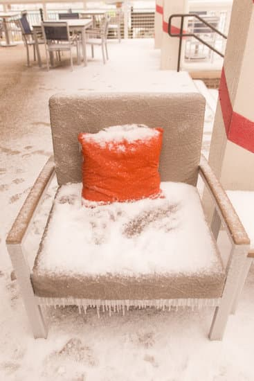 Frozen Outdoor Furniture in Hilton Head, South Carolina the day winter storm Grayson passed through the East coast of the USA.
