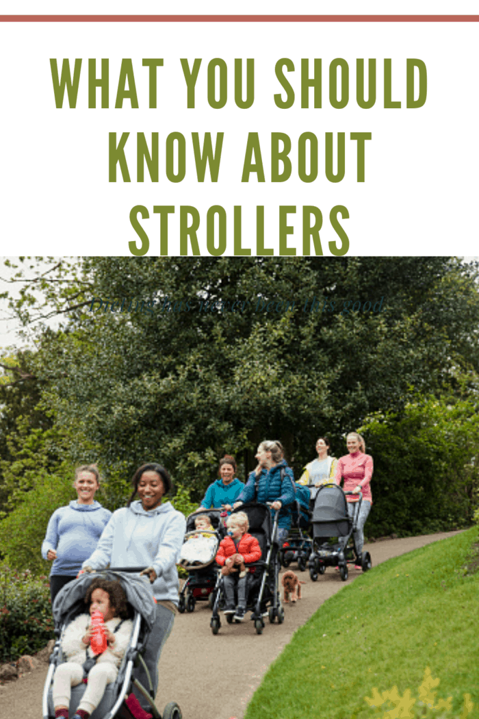 group with strollers walking down hill