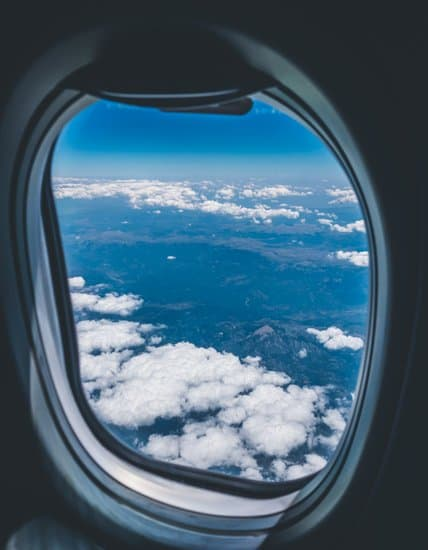 looking at the sky through an airplane window