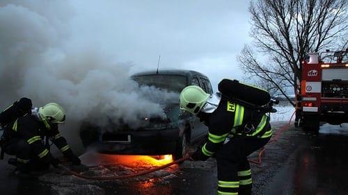 fireman putting out fire
