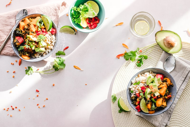 taco salads on white table