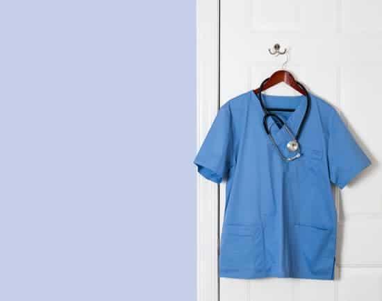 cherokee scrubs on hanger with stethoscope