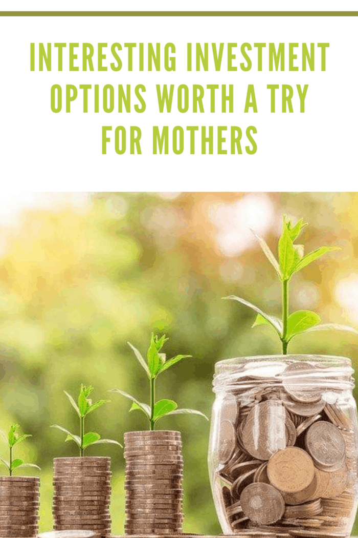 jar of loose chain with plant growing next to various stacks of change representing investing options for mothers.