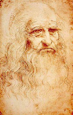 Presumed self-portrait of Leonardo (c. 1510) at the Royal Library of Turin, Italy.