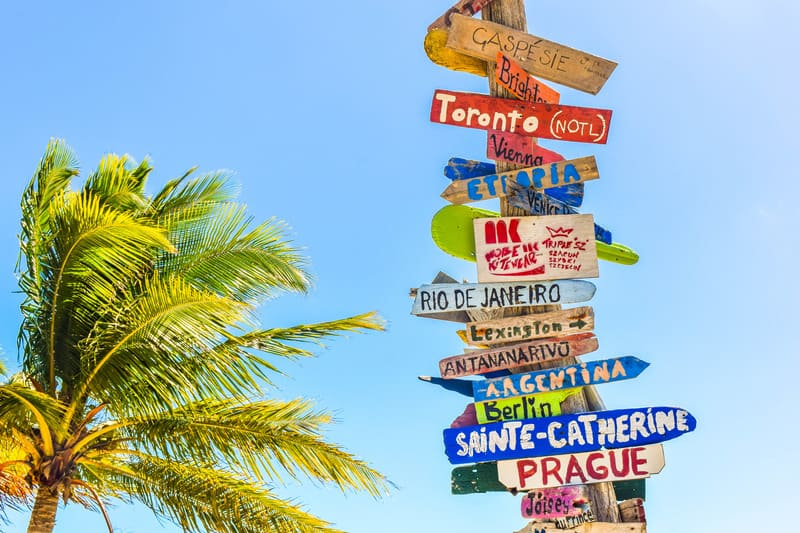 A Vacation Destination Sign with options for a relaxing vacation with the kids