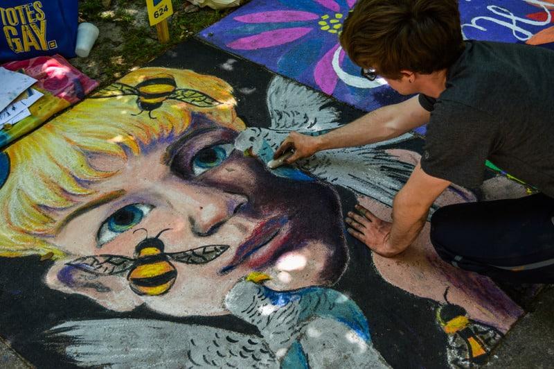 Man Painting Face of Human and Bird