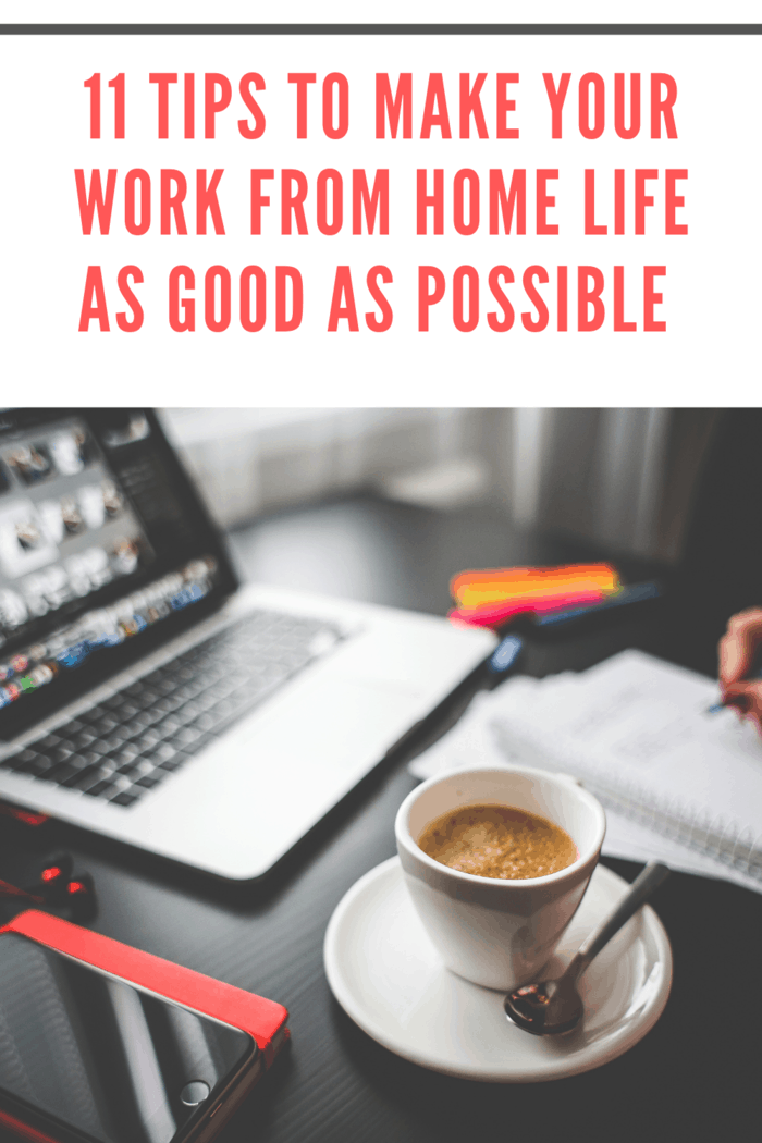 person work from home while drinking coffee