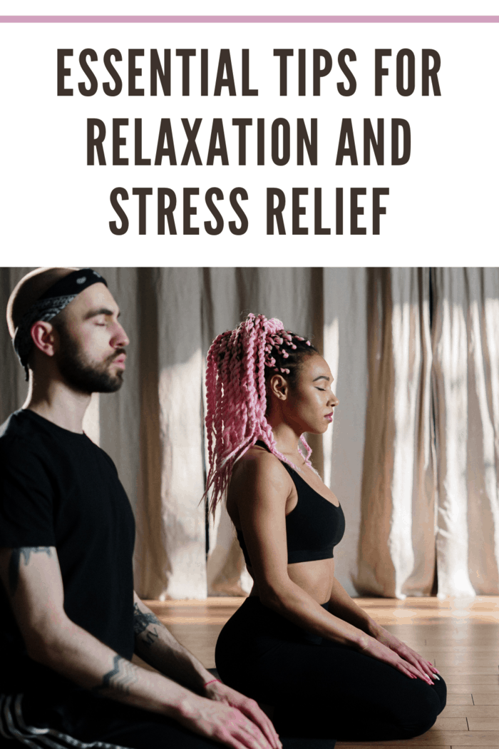 man and woman practicing relaxation and stress relief through meditation