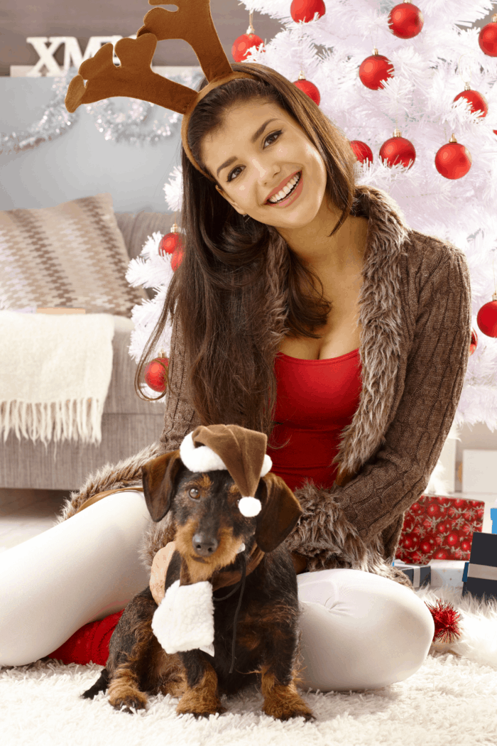 Funny christmas photo with happy woman in reindeer antler and dog in hat