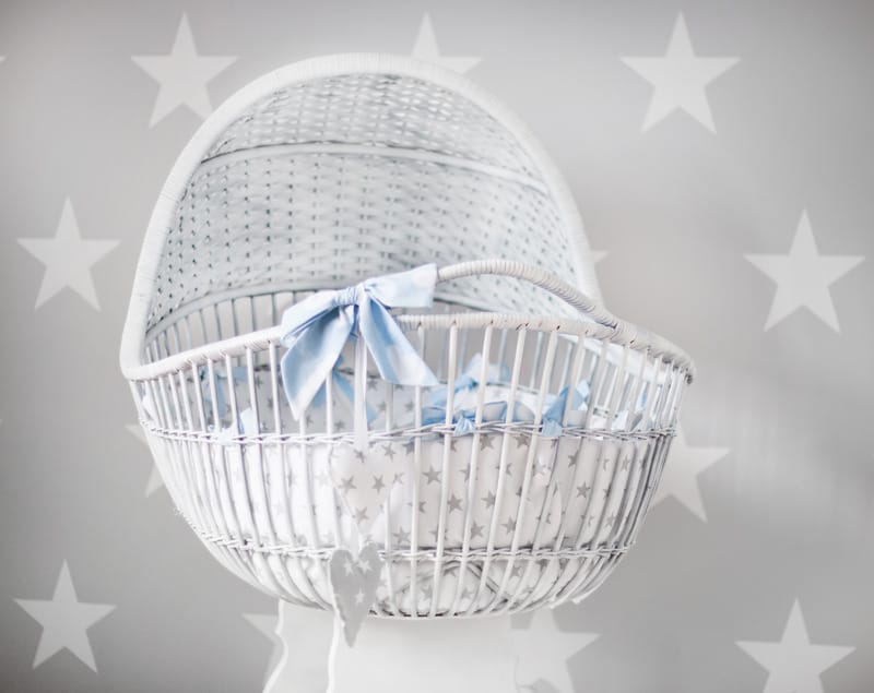 Baby's White and Gray Star Printed Bassinet