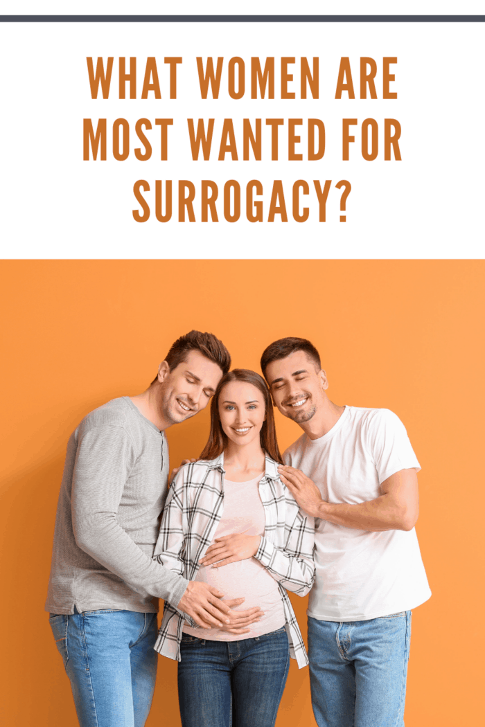 Gay couple with pregnant surrogate woman on color background