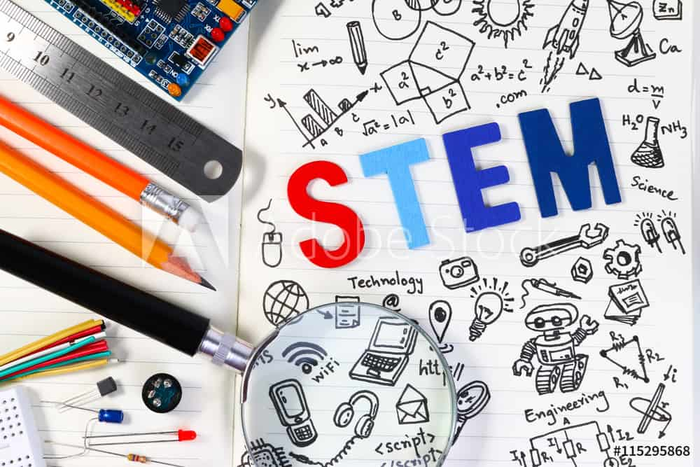 STEM education. Science Technology Engineering Mathematics. STEM concept with drawing background. Education background.STEM education. Science Technology Engineering Mathematics. STEM concept with drawing background. Magnifying glass over education backgr