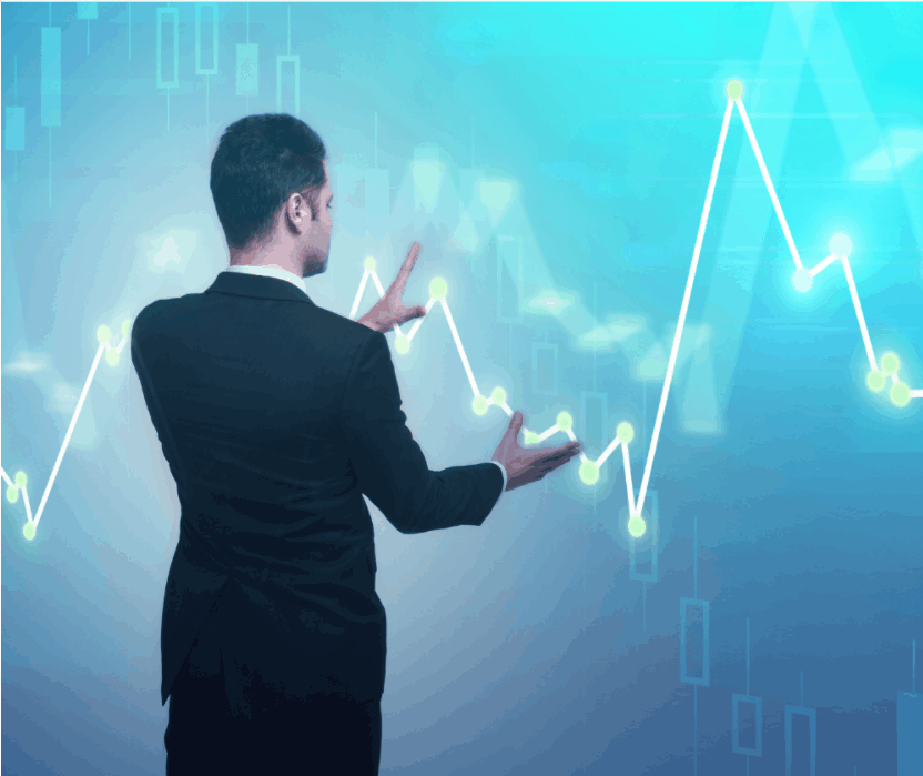 Businessman with forex chart standing on abstract glowing background. Broker and finance concept