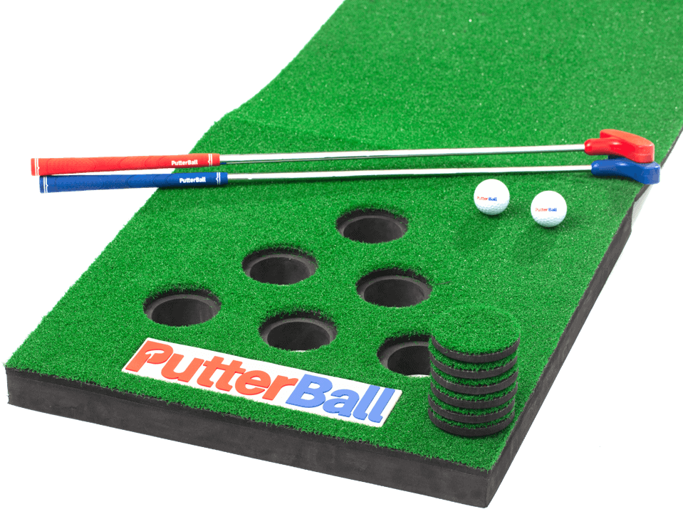 putterball game with ball and golf clubs