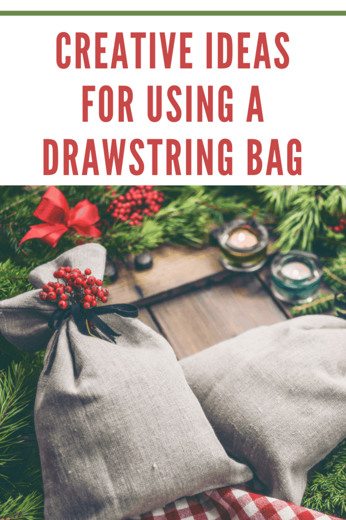 Two Gray Drawstring Bags being used to represent creative ideas for using drawstring bags