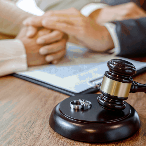 Judge gavel deciding on agreement prepared marriage divorce and Angry couple arguing telling their problems settlement, legal separation concept
