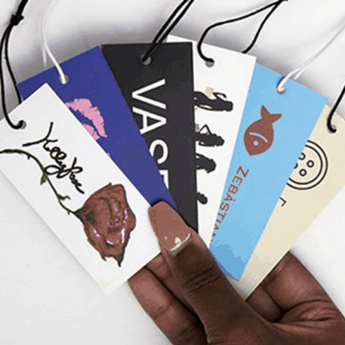 selection of boutique branded hang tags