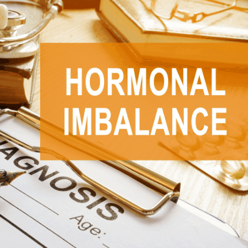 Hormonal imbalance concept. Medical documents on a desk.