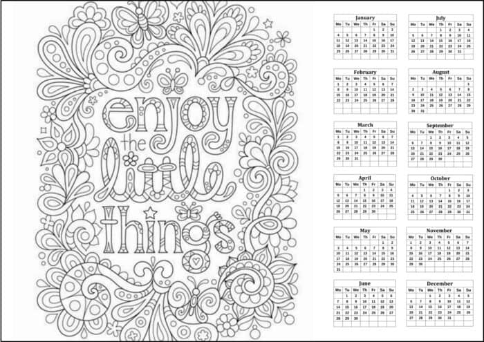 printable coloring calendar for adults (+ 2021 / February 2021)