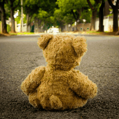 Teddy bear in the middle of the road depicting signs of sexual abuse in children