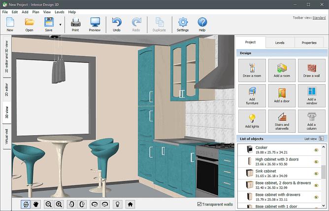 3d-interior-design-modeling of kitchen