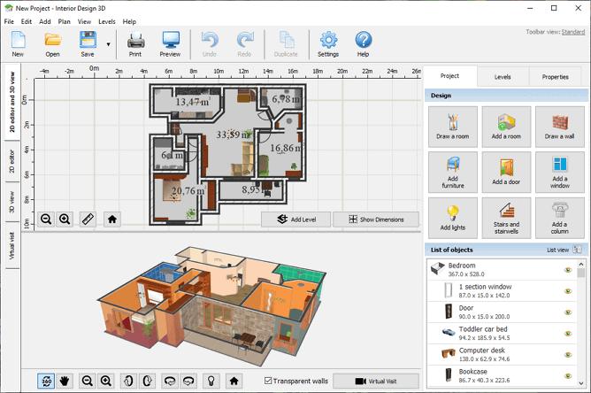 3d design of home adding furniture