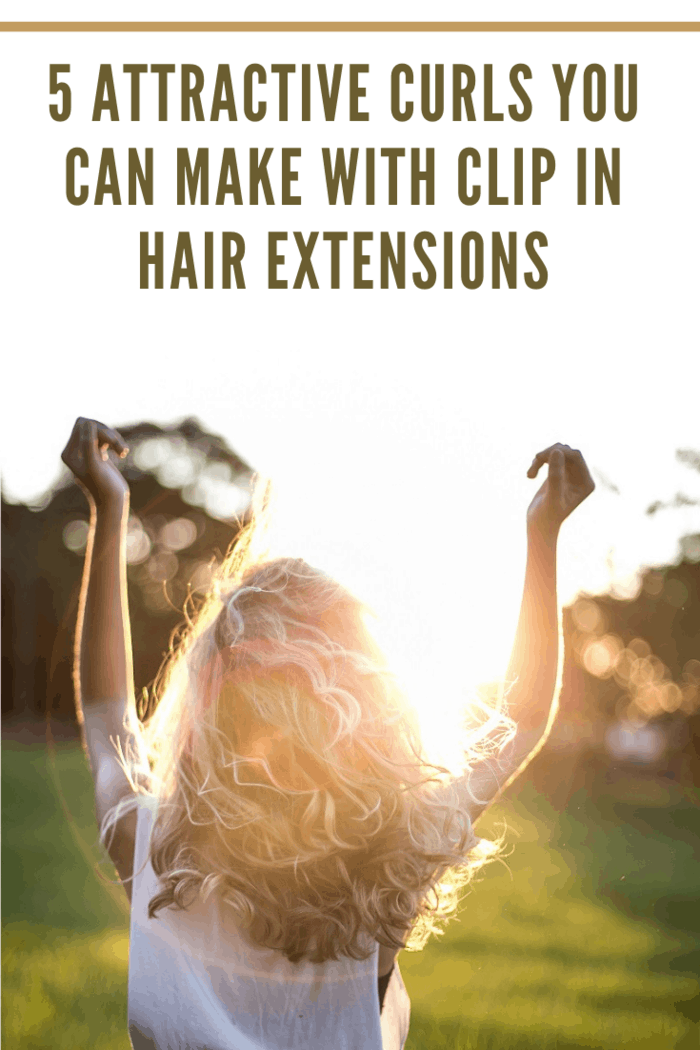 girl with clip on hair extension curls dancing in sun burst