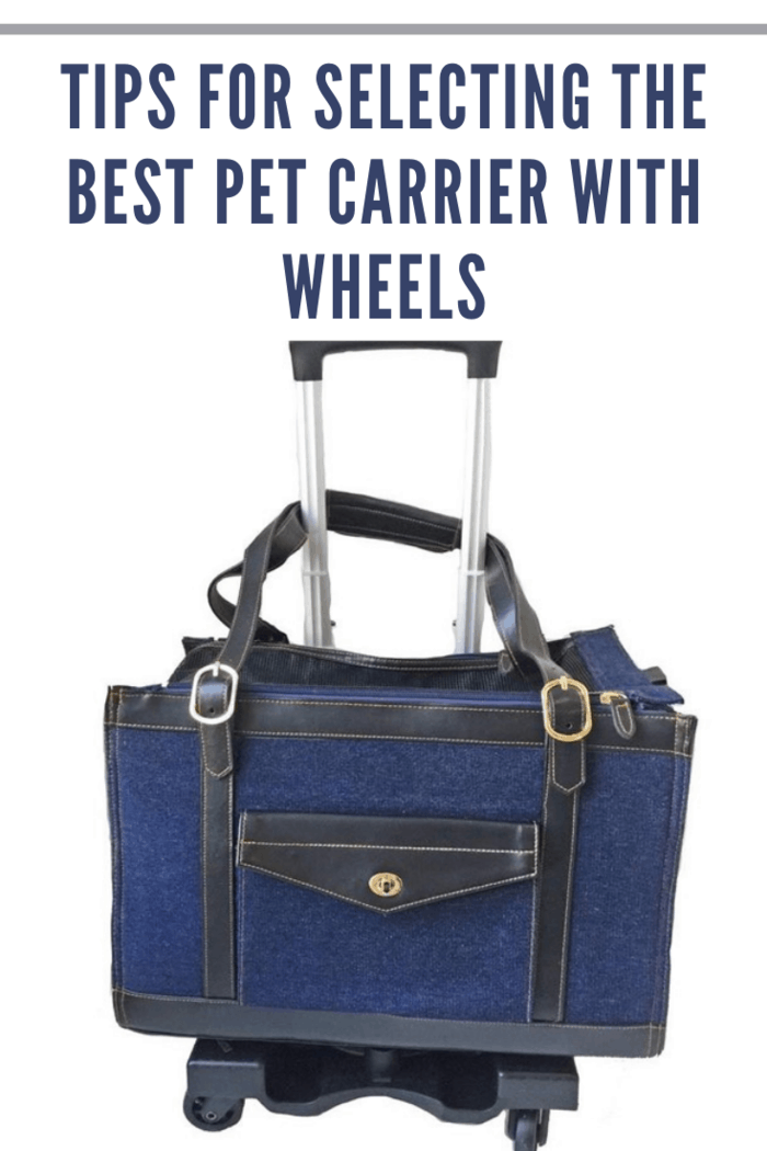 navy wheeled pet carrier.