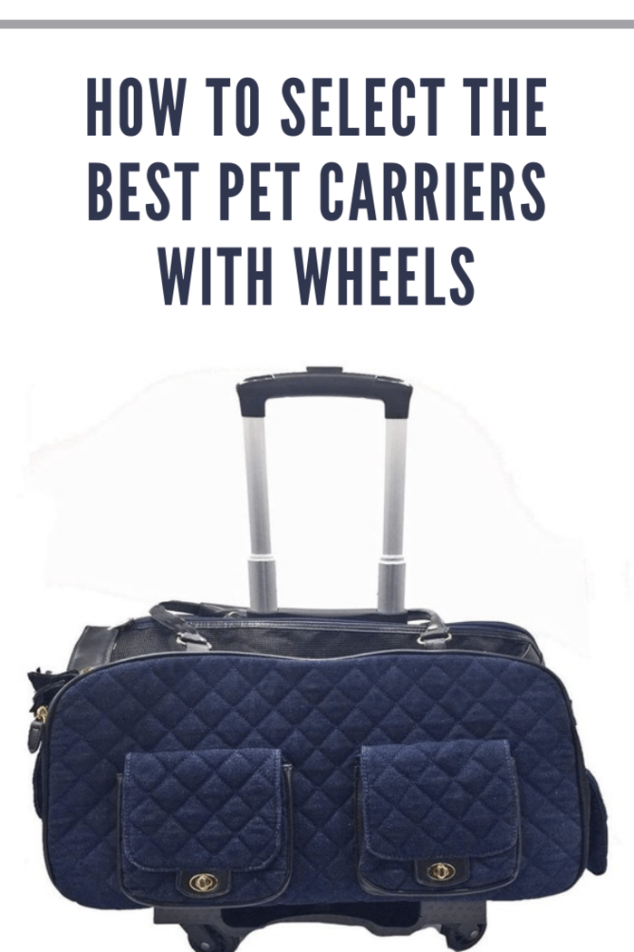 navy pet carrier with wheels.