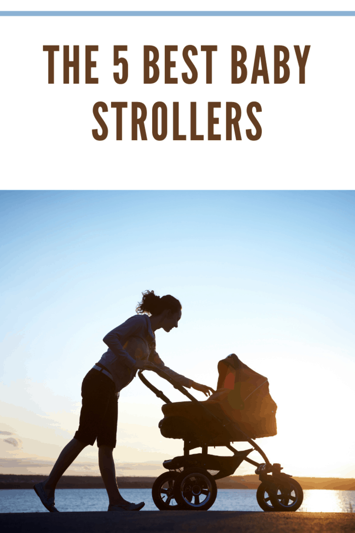 Silhouette of young mother enjoying motherhood with best stroller.