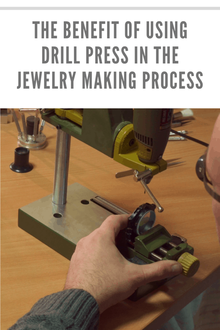 hands using a drill press in jewelry making