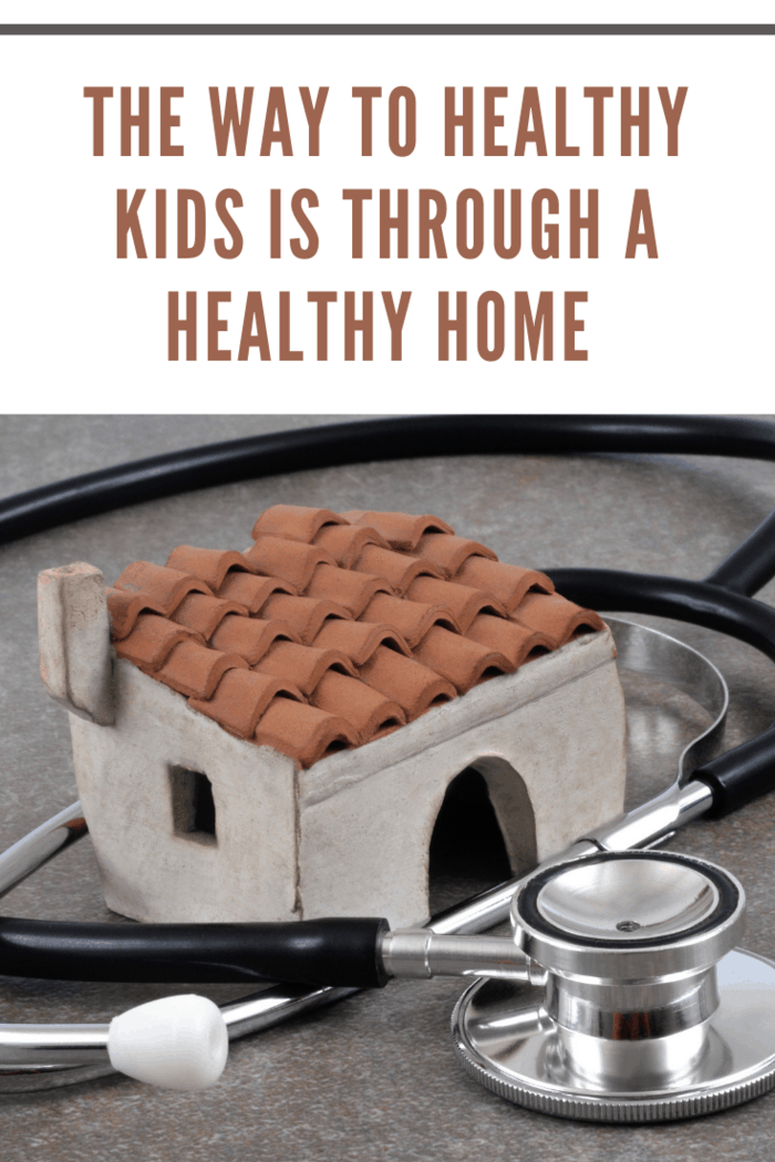 Healthy home concept. Model home with stethoscope around it.
