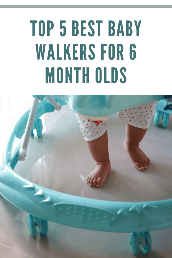 Baby walker closeup with baby legs and feet
