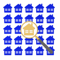 View homes magnifying glass, separating from the crowd, isolated on white background depicting apartment hunting.