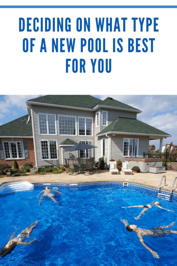Family floating in backyard pool