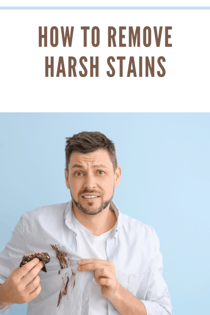 Displeased Man in Dirty Stained Clothes Eating Chocolate Dessert